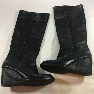Lucky Brand Black Leather Wedge Heel Boots Size 6